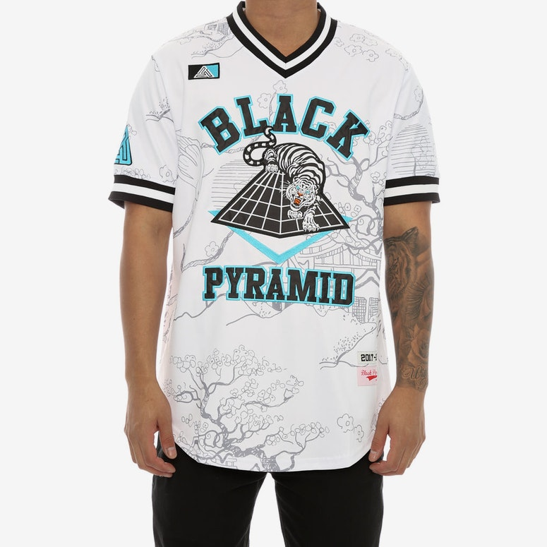 Black Pyramid BP White Tiger Baseball Jersey White