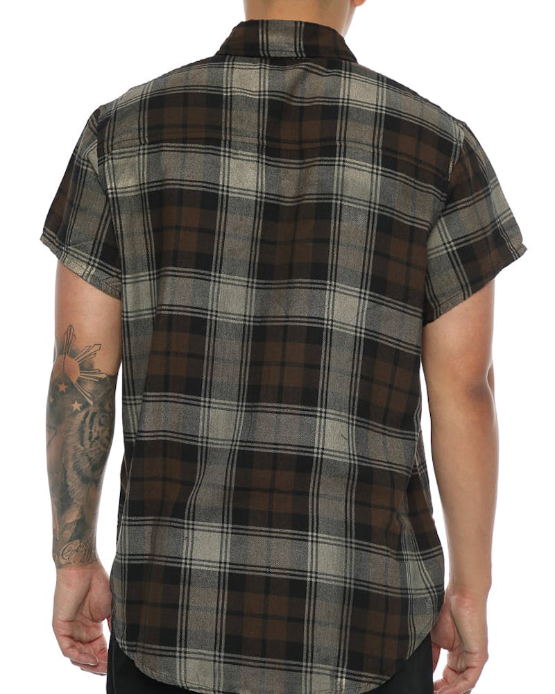Other UK Clothing Limited Short Sleeve Tartan Shirt Brown/Khaki