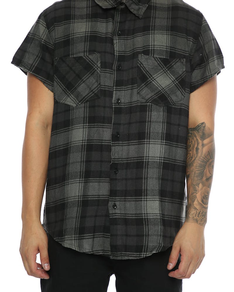 Other UK Clothing Limited Short Sleeve Tartan Shirt Grey