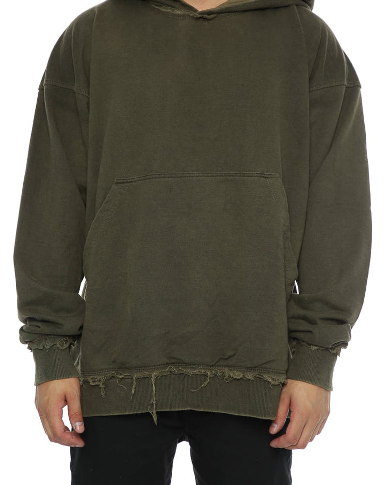 Other UK Clothing Limited Raw Hem Hoodie Moss