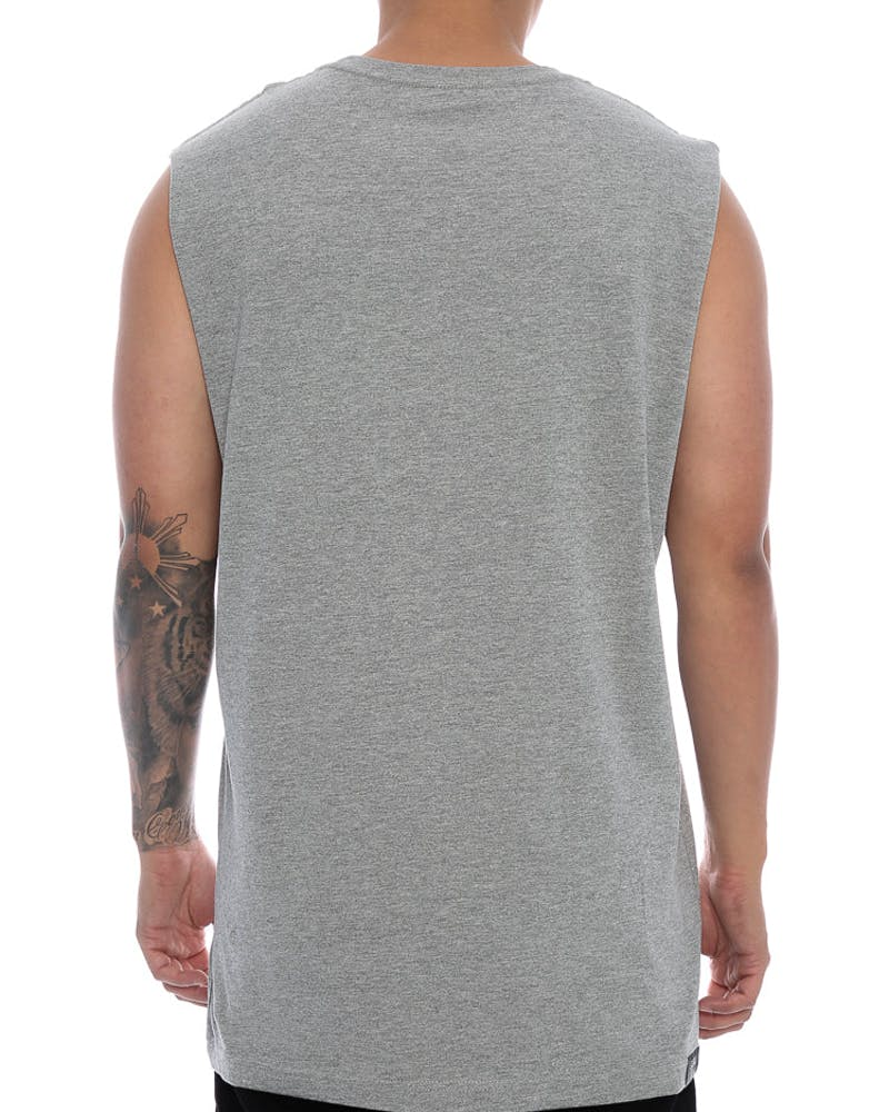 Goat Crew How High Emblem Logo Muscle Tee Grey