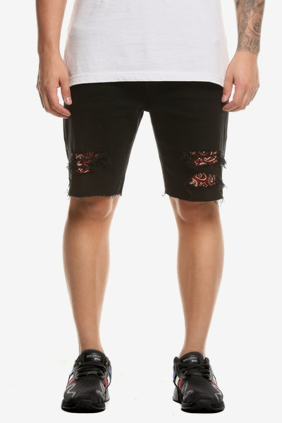 Saint Morta Hybrid Paisley Denim Short Black/Red