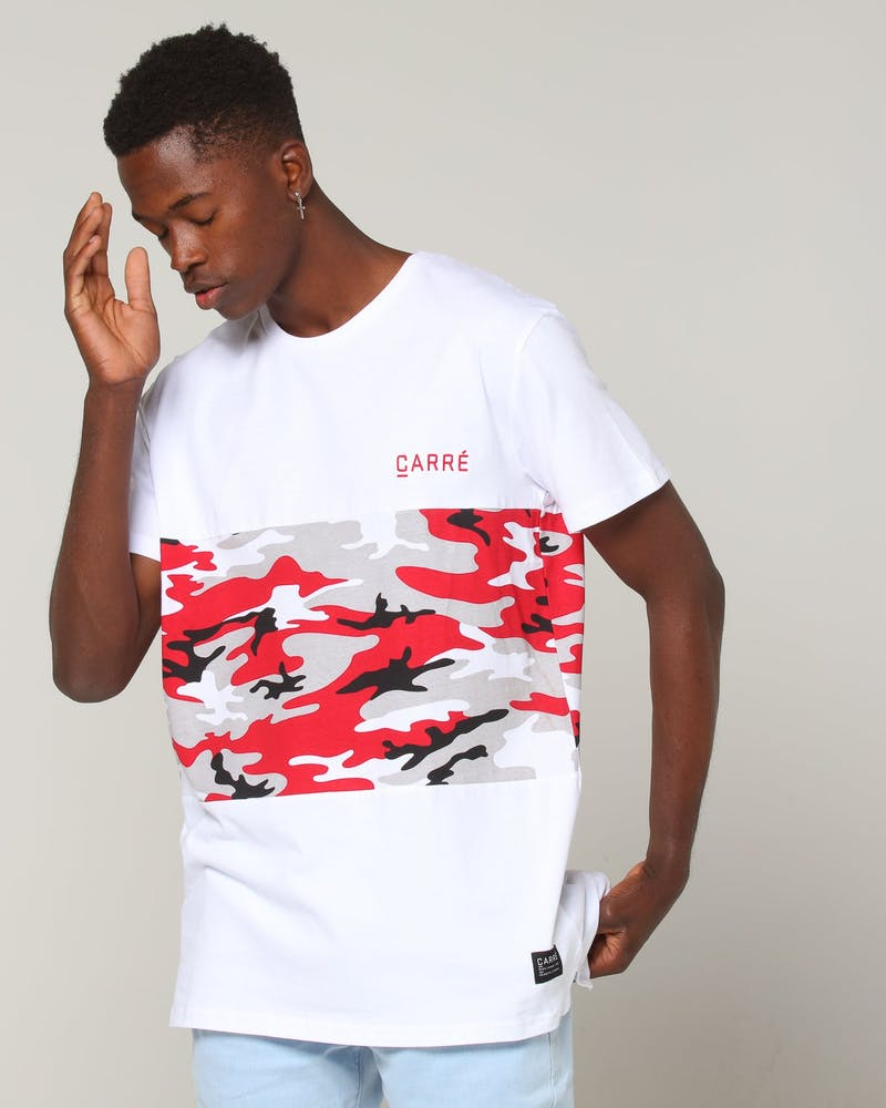 Carré Camo Rouge Bloc SS Tee White/Red Camo