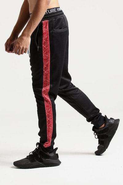 New Slaves Paisley Stripe Track Pant Black/Red