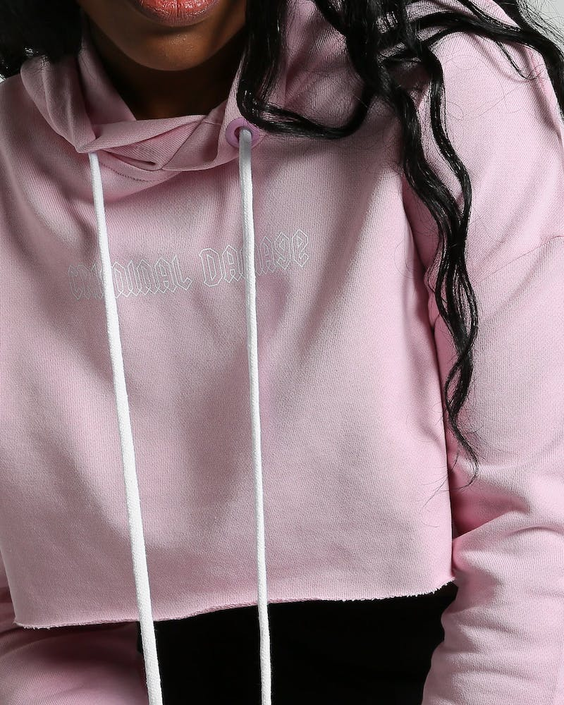 Criminal Damage Women's Clapton High Crop Hood Pink