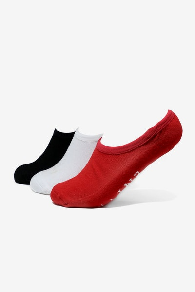 Saint Morta No-Show Ankle Sock 3 Pack White/Black/Red