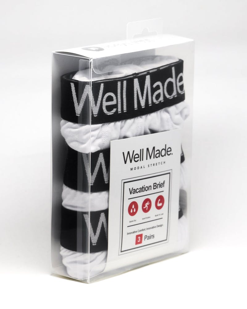 Well Made Vacation Brief 3 Pack White