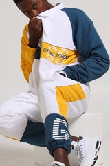GRAND SCHEME OFF SIDE JACKET WHITE/BLUE/YELLOW