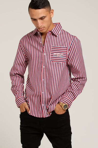 Carré Pinnacale Button Up Blue/White/Red