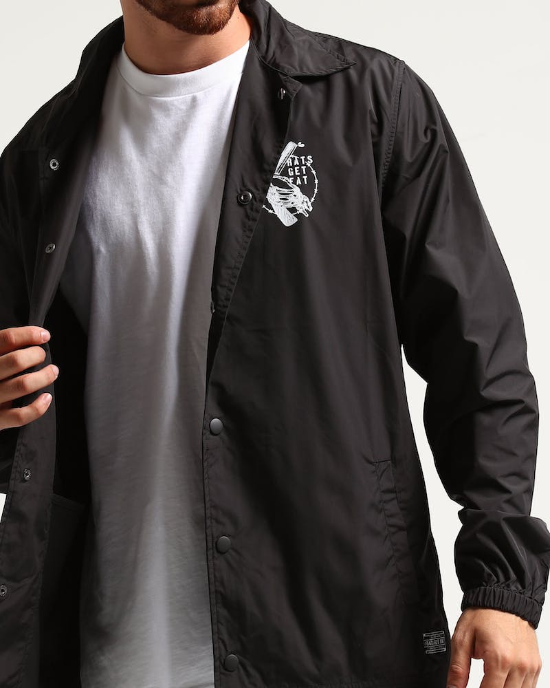 Rats Get Fat Cut Throat Coach Jacket Black