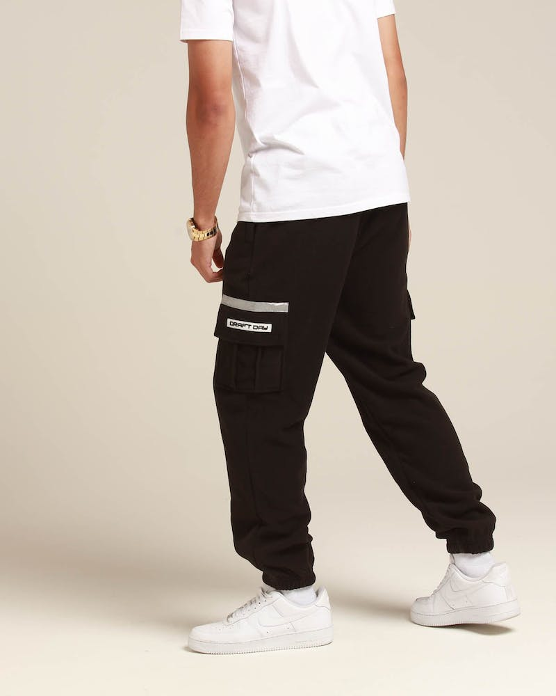 Draft Day Fleeced Cargo Trackpants Black
