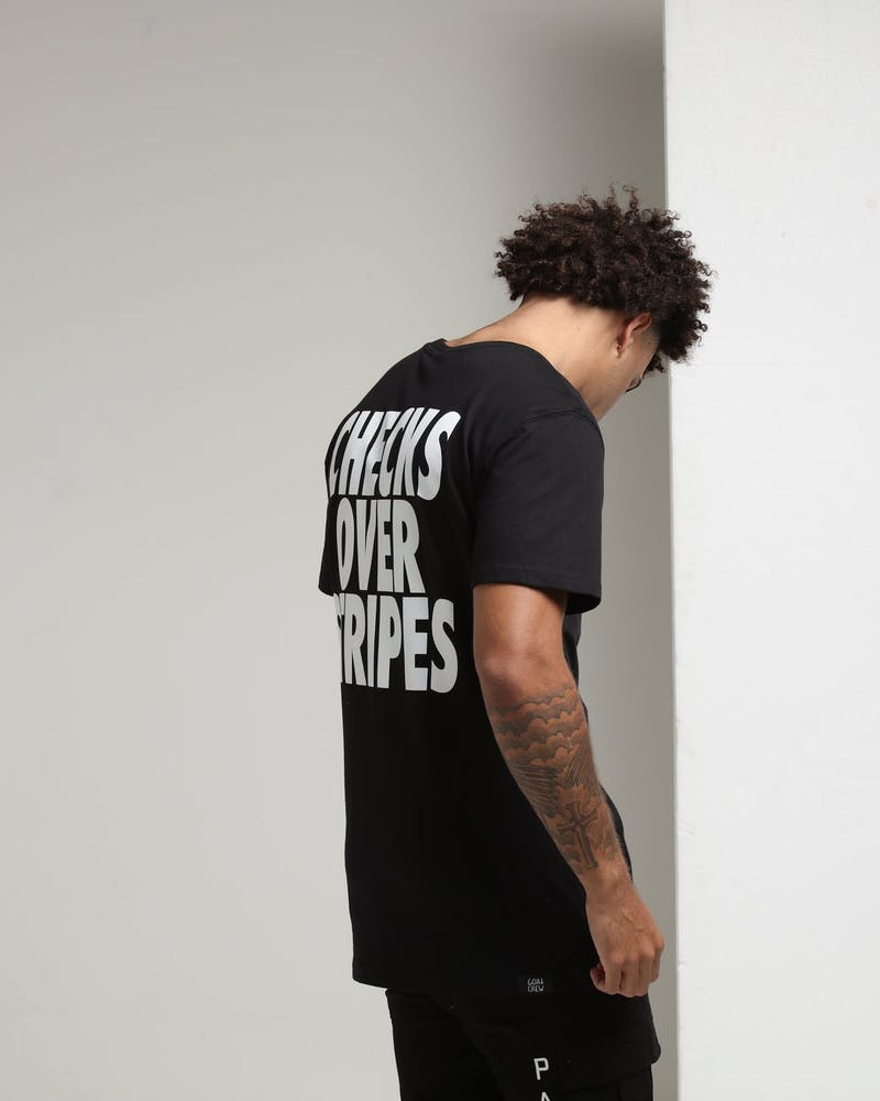 Goat Crew Checks Over Stripes SS Tee Black