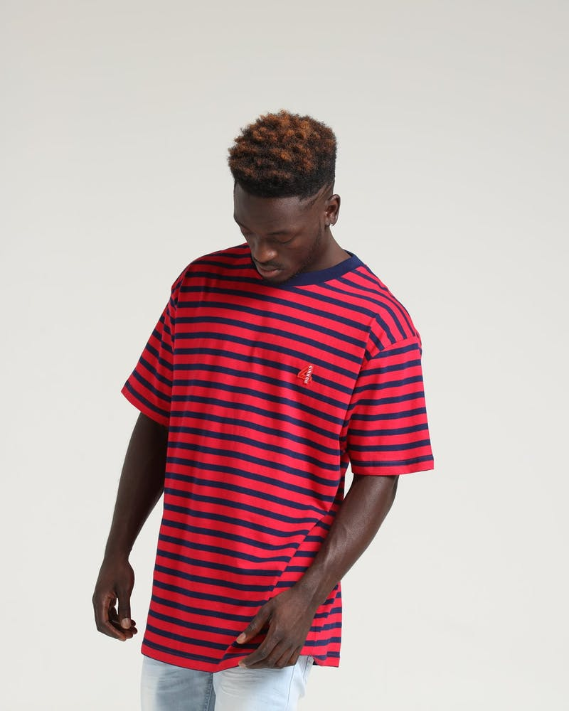 4HUNNID Stripe Tee Red