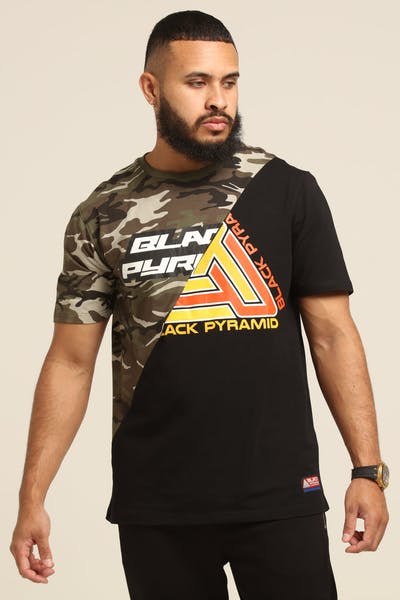 Black Pyramid Split Zig Zag Stitch Shirt Camo