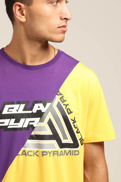 Black Pyramid Split Zig Zag Stitch Shirt Purple/Yellow