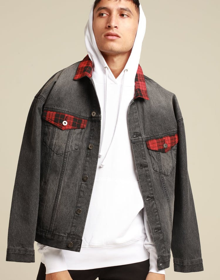 ENES Tartan Denim Jacket Black