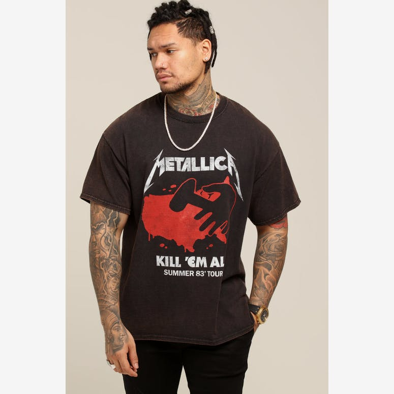72b3c872bb6 Metallica Kill  Em All Vintage Tee Washed Black – Culture Kings NZ