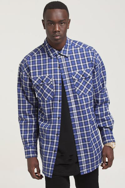 Saint Morta Flow LS Flannel Shirt Cobalt Blue