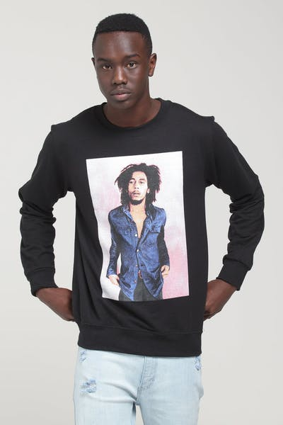 Bob Marley Pink Photo Crewneck Fleece Black