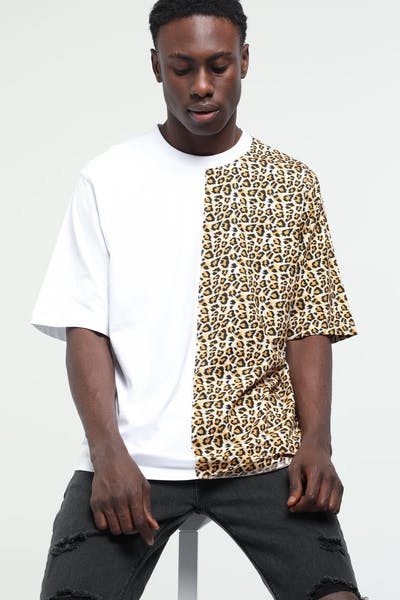 New Slaves Split Tee White/Leopard