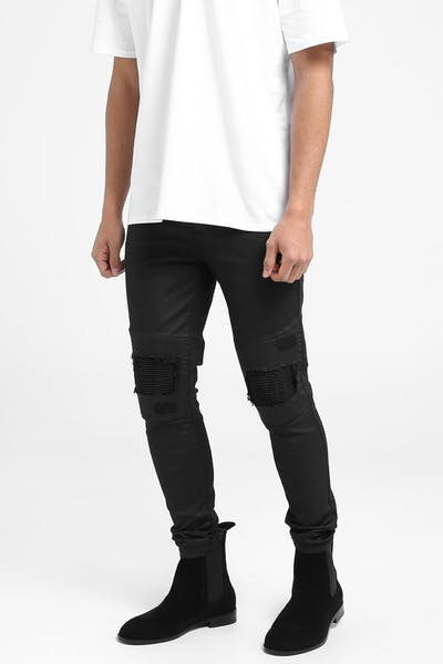 Last Kings Waxed Jeans Black