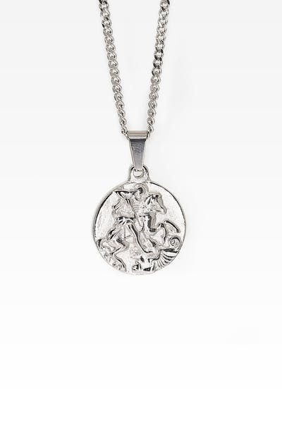 Midnight City St George Pendant & Chain Silver