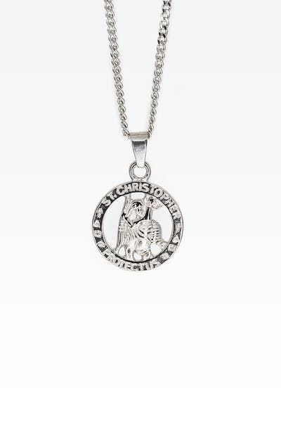 Midnight City St Christopher Pendant & Chain Silver