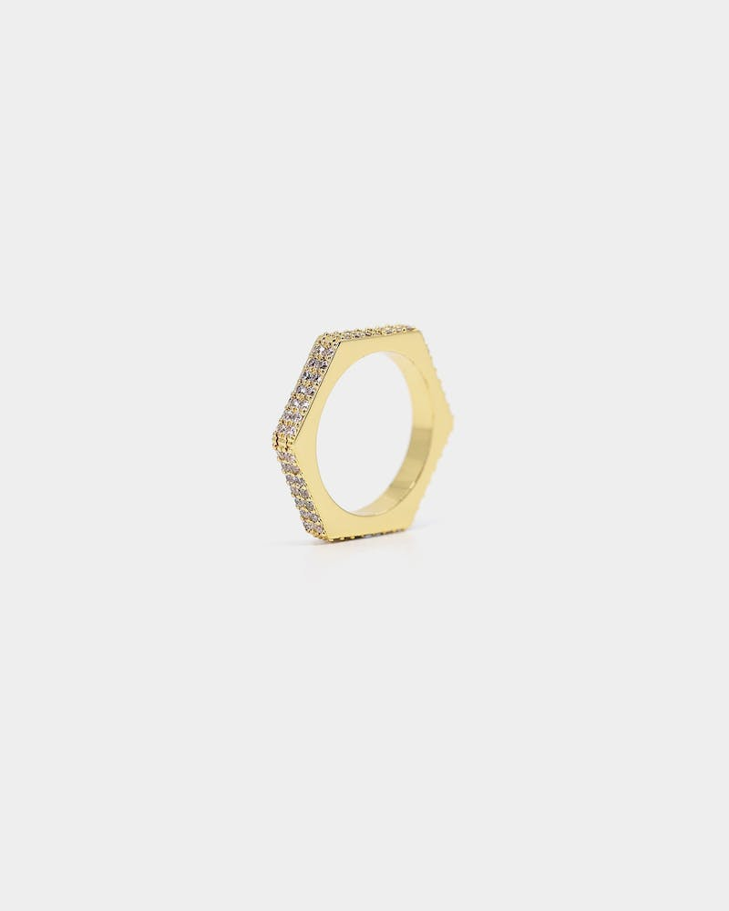 Saint Morta 4MM Hex Ring Iced Gold