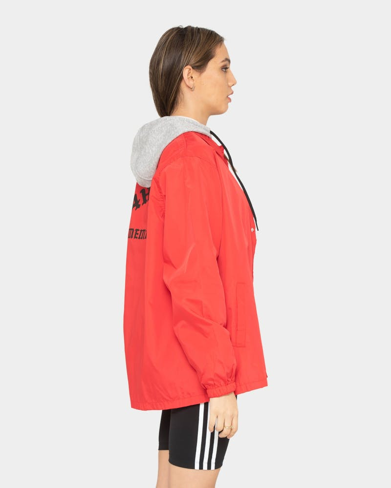 4HUNNID Nylon Letters Jacket Red/Black