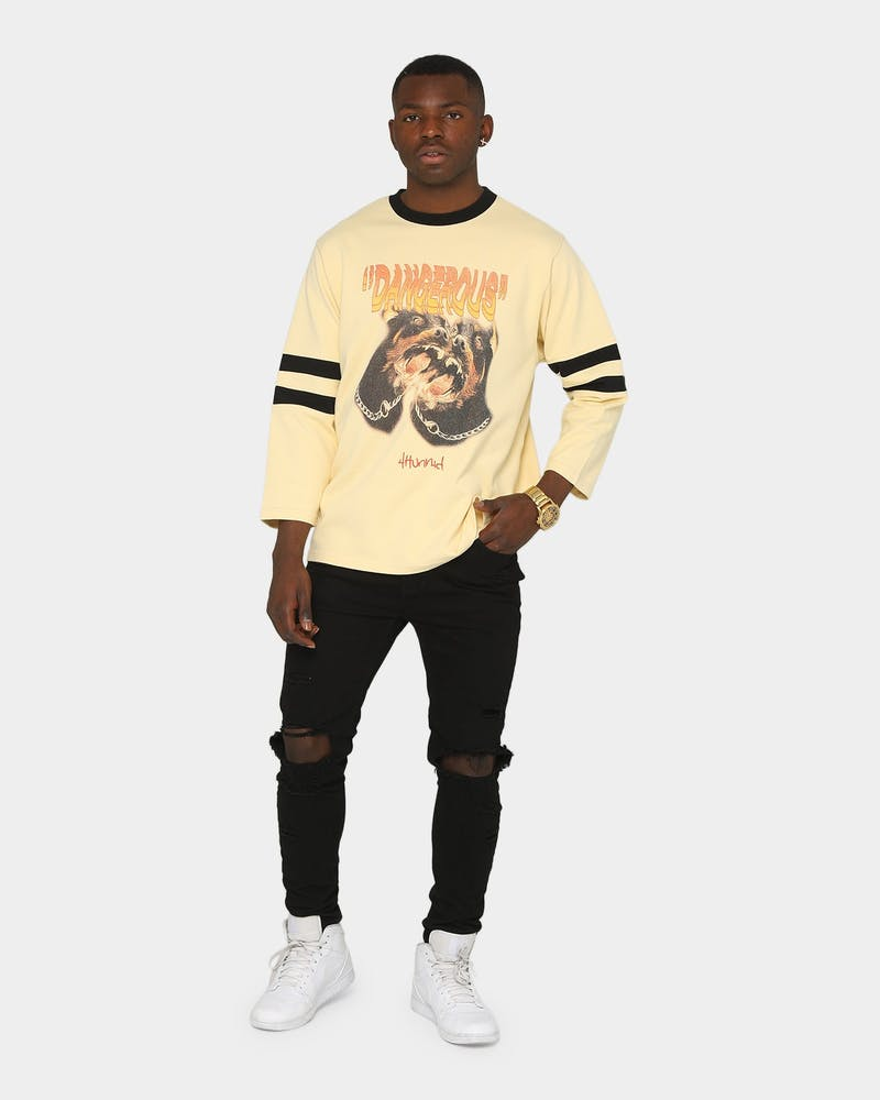 4Hunnid Men's Dangerous Dog 3/4 Sleeve T-Shirt Yellow