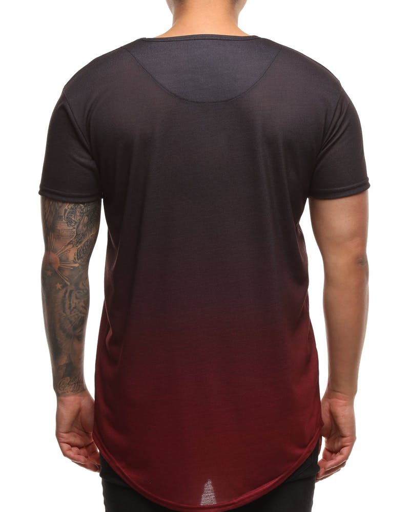 Sik Silk Curved Hem Faded Tee Black/Red