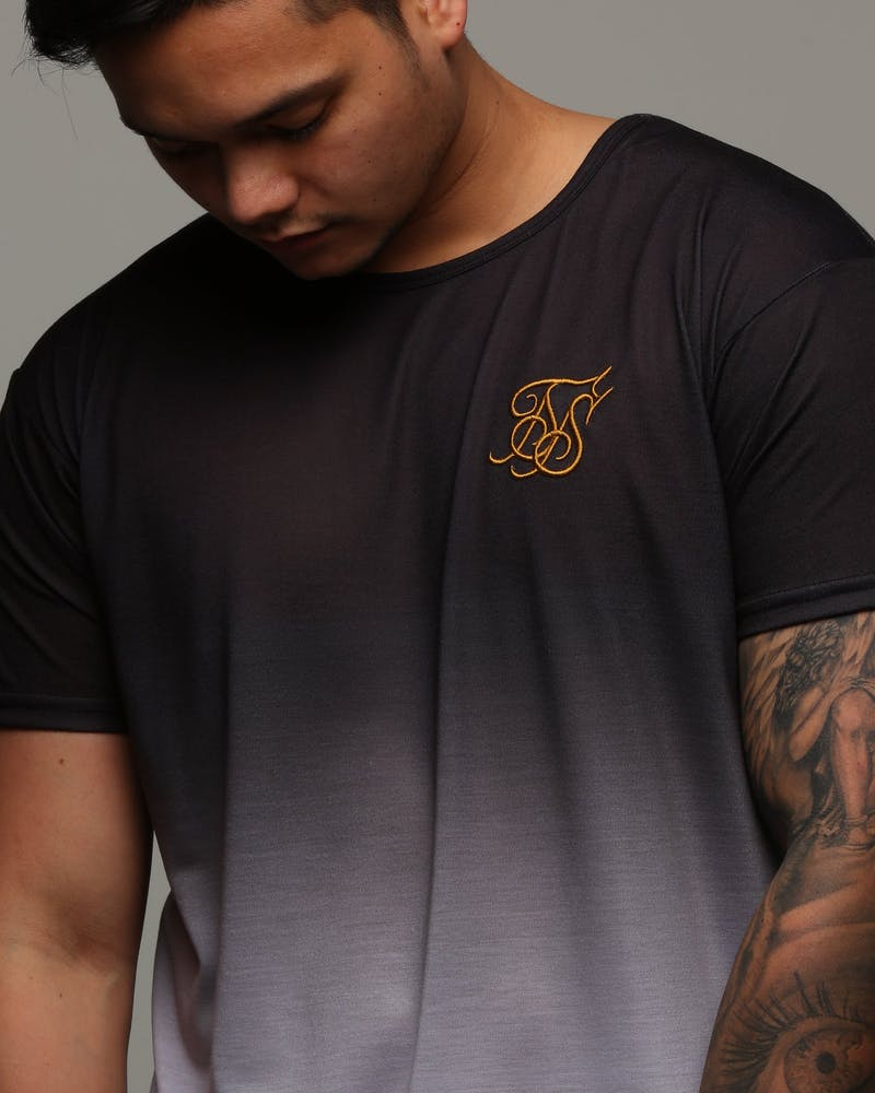 Sik Silk Curved Hem Faded Tee Black/White