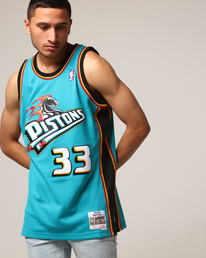 Mitchell & Ness Detroit Pistons Grant Hill #33 NBA Jersey Teal