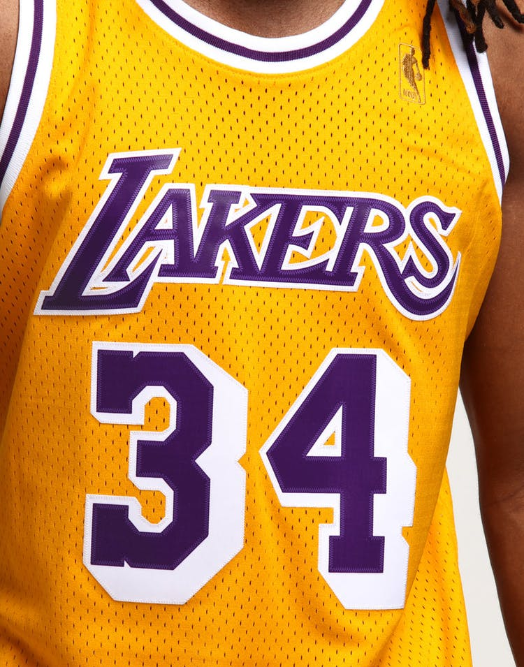 huge selection of b4847 3d6ed Mitchell   Ness Los Angeles Lakers Shaquille O Neal  34 Swingman Jersey  Yellow