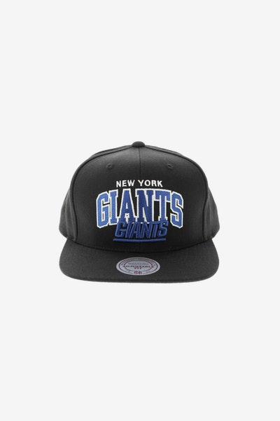 Mitchell & Ness New York Giants Flat Peak Embroidered Arch Snapback Black/Blue