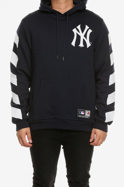 Majestic Athletic New York Yankees Stripe Sleeve Oth Hood Navy