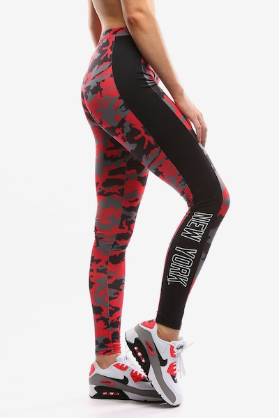 Majestic Athletic Women's Yankees Panel Leggings Red Camo