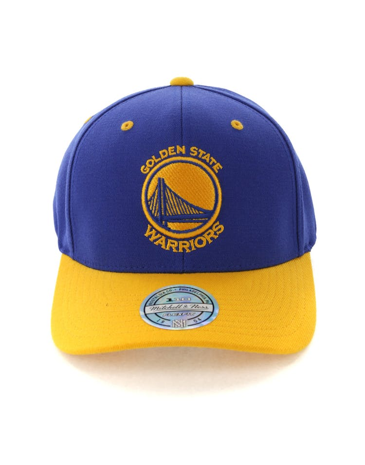 the latest ee0ea 2a18b Mitchell   Ness Golden State Warriors Team Logo 2 Tone 110 Snapback Royal  Yellow