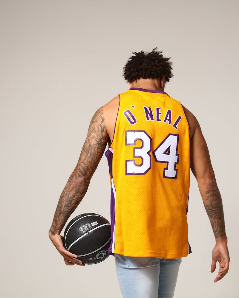 Mitchell & Ness Los Angeles Lakers Shaquille O'Neal #34 NBA Jersey Yellow/Purple