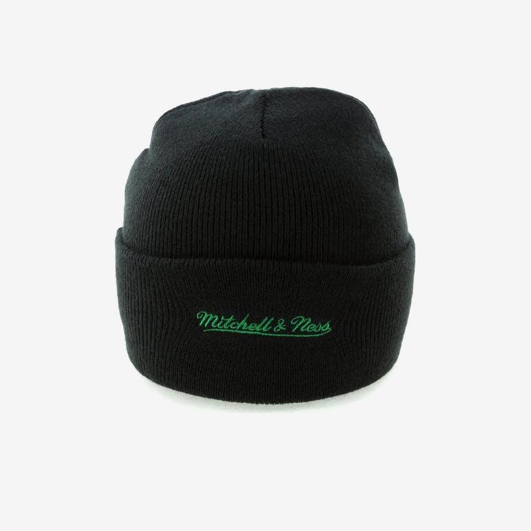eb122e63dd9 Mitchell   Ness Boston Celtics Team Logo Cuff Beanie Black – Culture ...