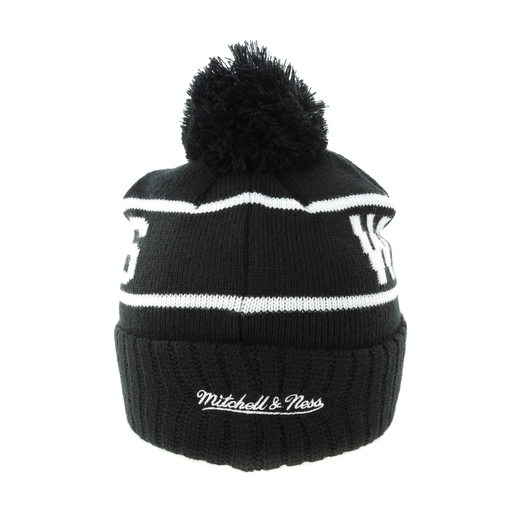 70b6b4498aa ... cuffed knit hat with pom 23fab 83511  promo code for mitchell ness golden  state warriors black white logo high 5 beanie black white