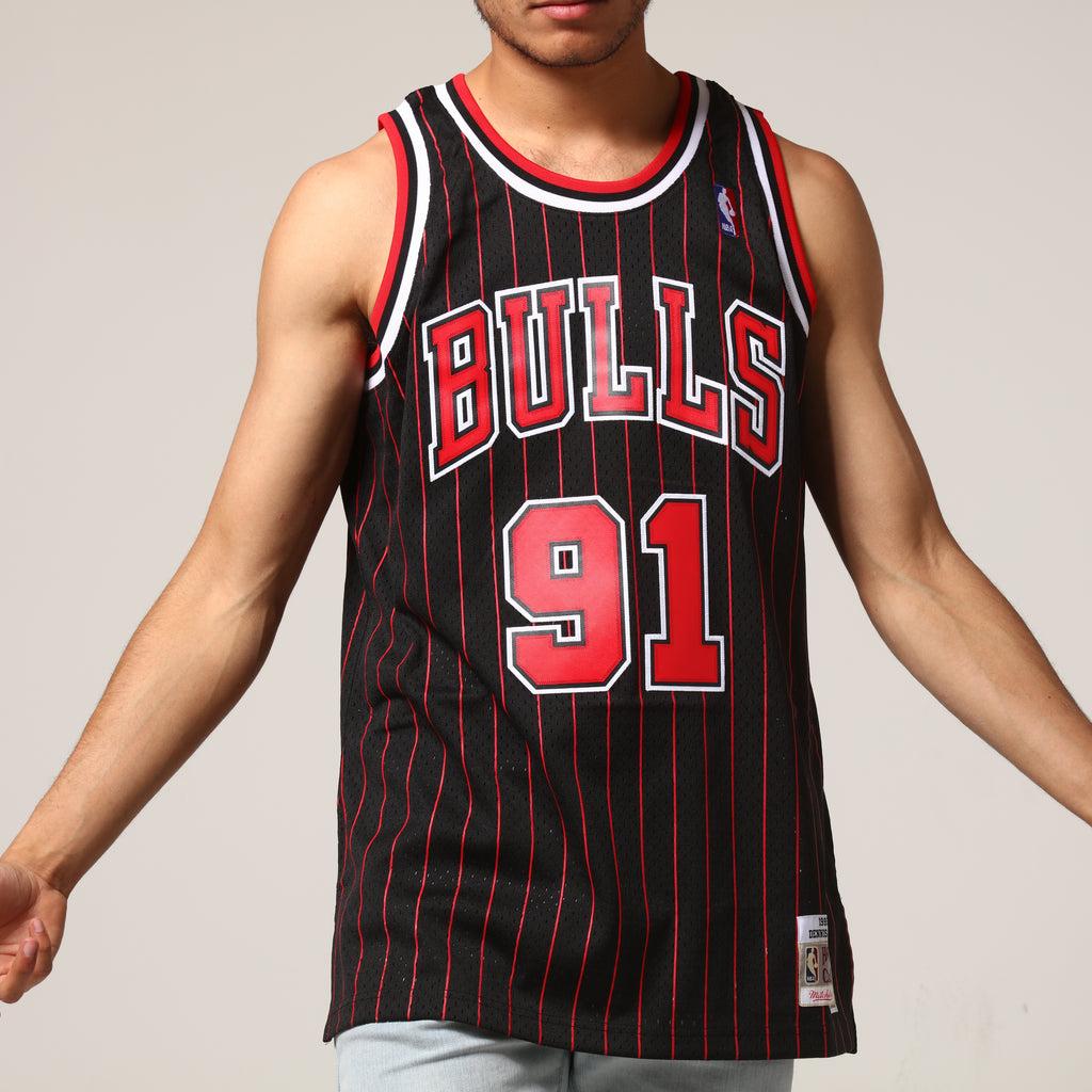 962d70c6262 ... mitchell ness chicago bulls dennis rodman 91 nba jersey black red