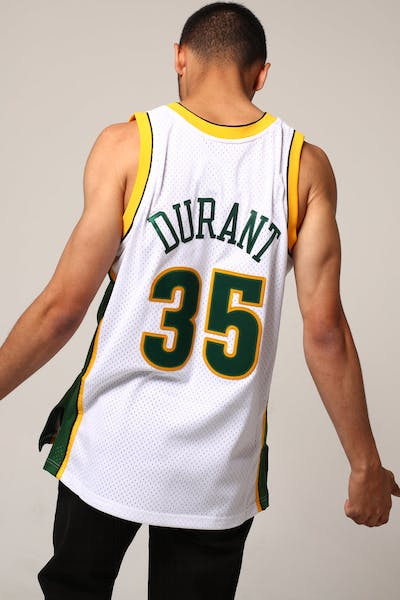 19f680915 Mitchell   Ness Seattle Supersonics Kevin Durant  35 NBA Jersey White Green