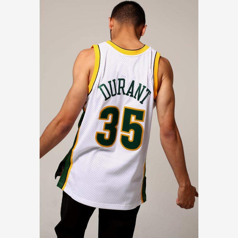 Mitchell   Ness Seattle Supersonics Kevin Durant  35 NBA Jersey White Green 212009759