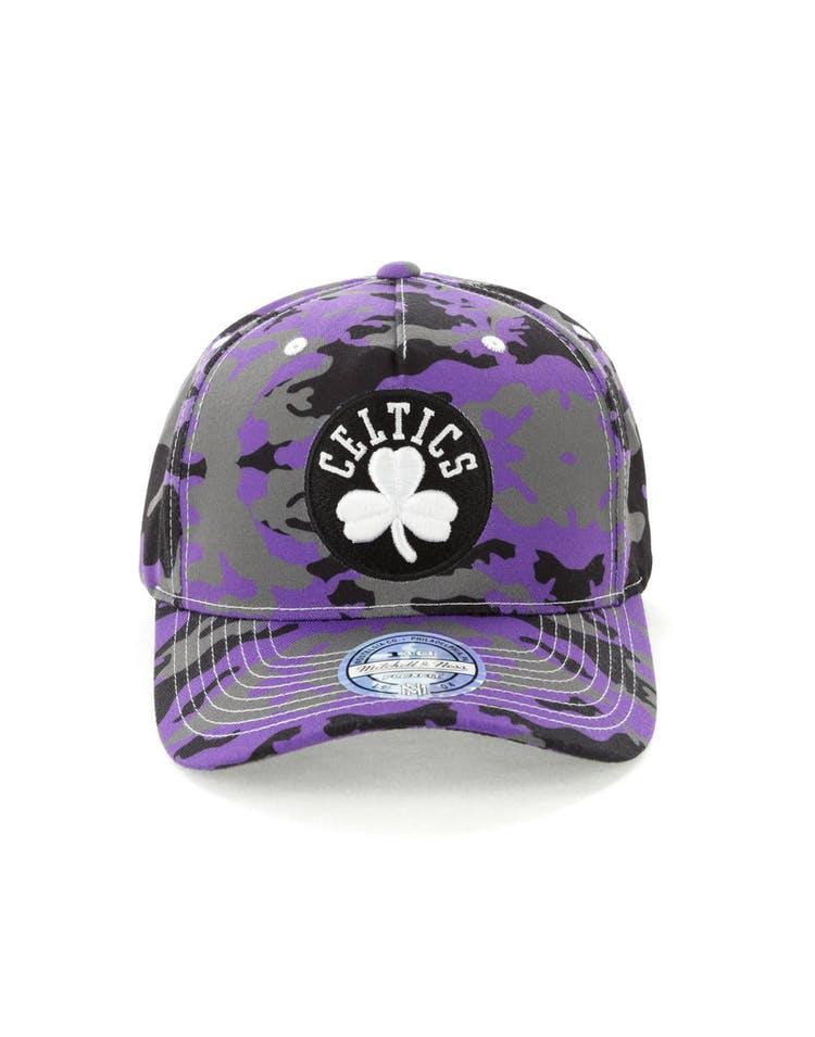 on sale 770b1 ecb40 Mitchell   Ness Boston Celtics 110 Pinch Panel Snapback Camo Purple