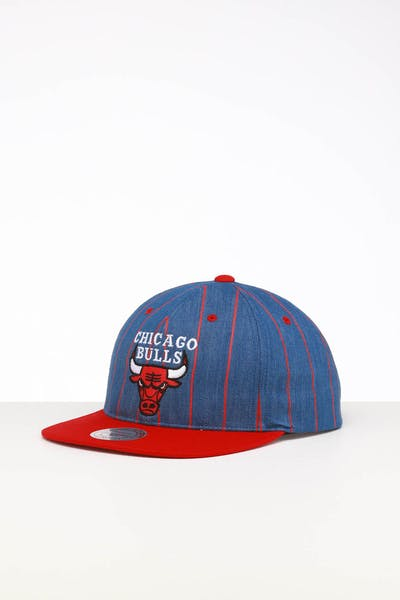 7afafdedf72b71 Mitchell & Ness Chicago Bulls Low Crown Retro Snapback Denim Pinstripe ...