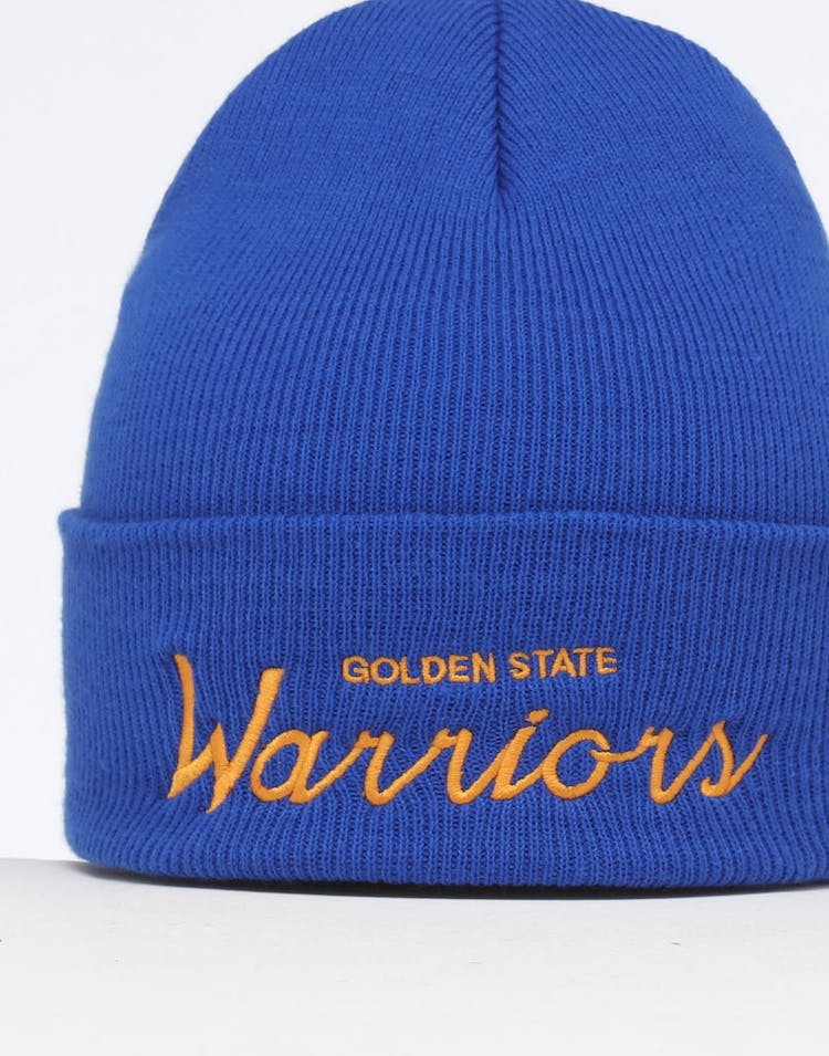 4aeccba2c10d52 Mitchell & Ness Golden State Warriors Special Script Knit Royal/Blue ...
