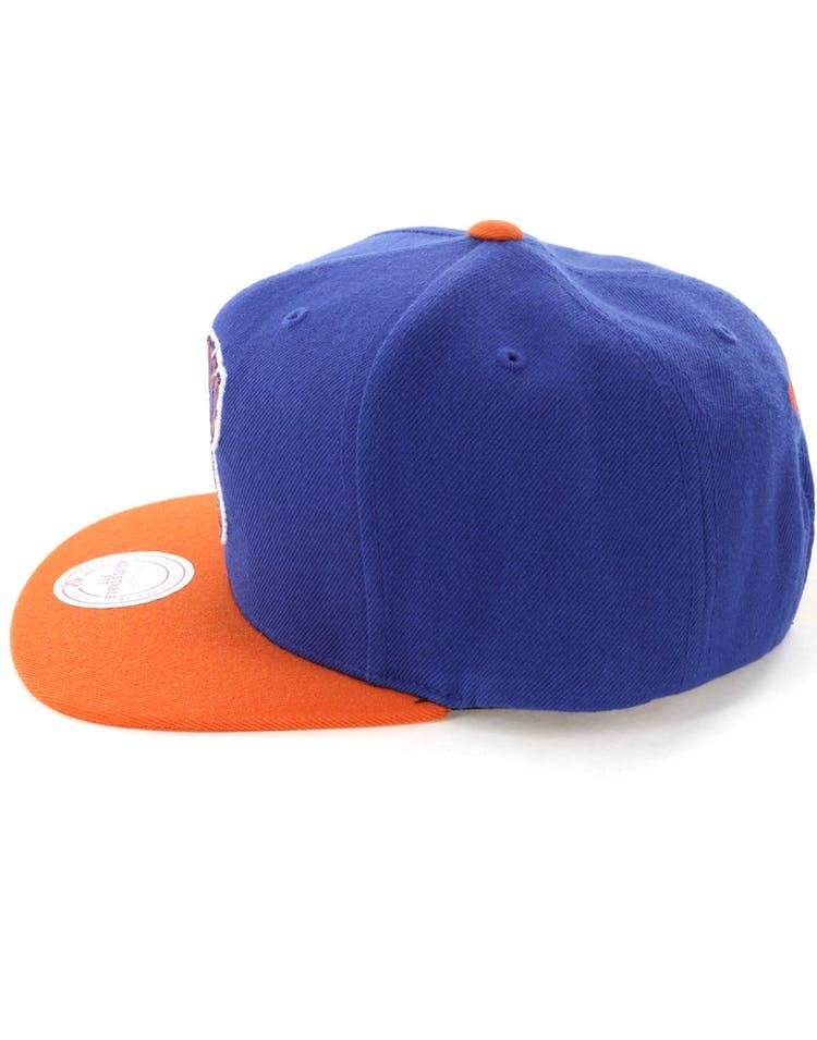 reputable site 7b723 e948a Mitchell   Ness New York Knicks Satin Fused Snapback Royal Orange