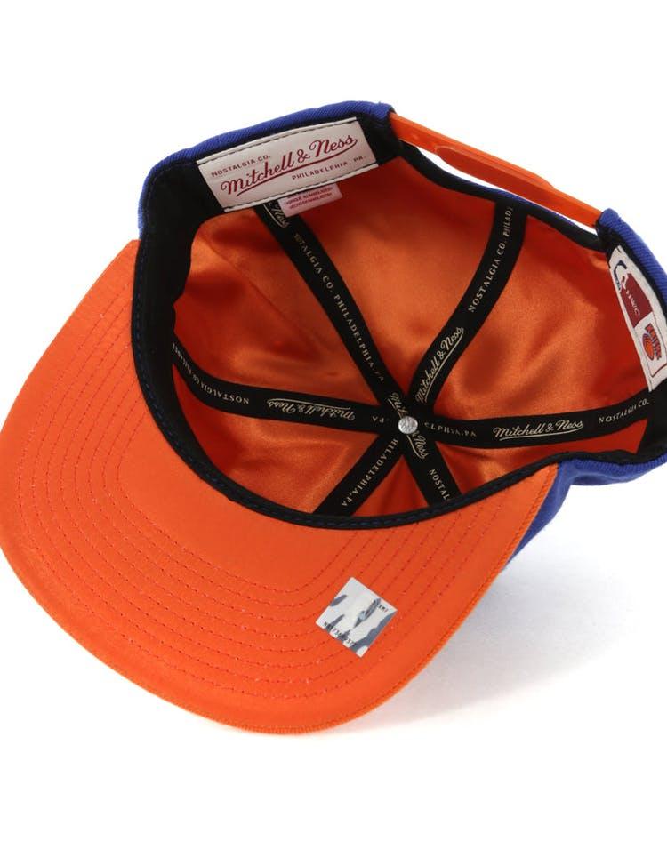 reputable site 16ac5 cc713 Mitchell   Ness New York Knicks Satin Fused Snapback Royal Orange