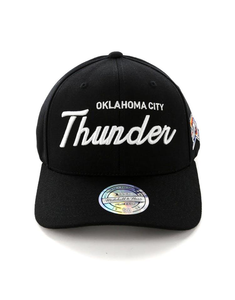 info for b5a7b 21ee0 Mitchell   Ness Oklahoma City Thunder 110 Team Script Snapback Black